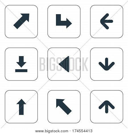 Set Of 9 Simple Pointer Icons. Can Be Found Such Elements As Left Direction, Downwards Pointing, Upward Direction And Other.