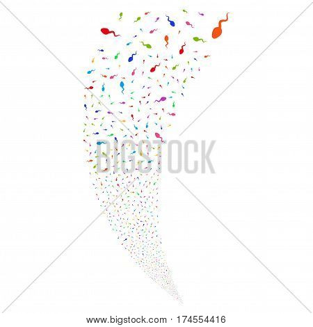 Spermatozoon random fireworks stream. Vector illustration style is flat bright multicolored iconic symbols on a white background. Object fountain organized from scattered pictograms.