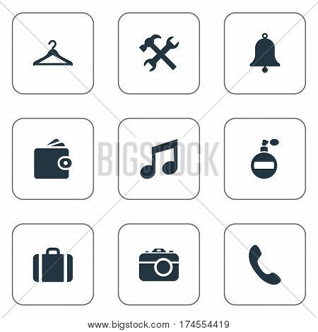 Set Of 9 Simple  Icons. Can Be Found Such Elements As Ring, Billfold, Call Button And Other.