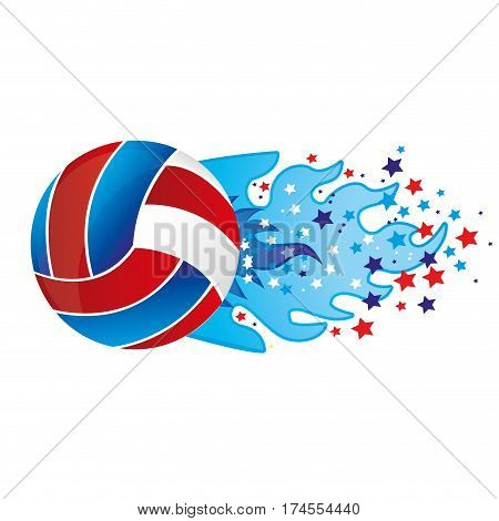 colorful olympic flame with stars and volleyball ball vector illustration