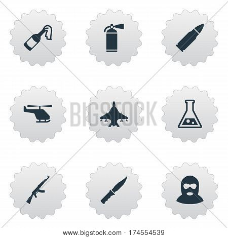 Set Of 9 Simple Battle Icons. Can Be Found Such Elements As Extinguisher, Sky Force, Terrorist And Other.