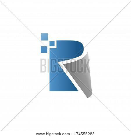 creative letter r data technology logo vector concept, letter r book vector