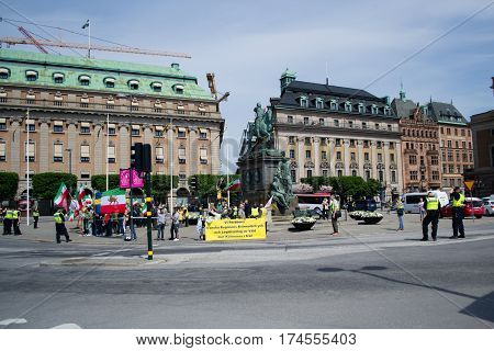Stockholm Sweden - June 1 2016: Iranians protesting in the center of city