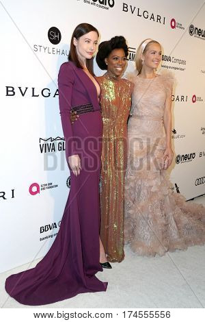 LOS ANGELES - FEB 26:  Stephanie Corneliussen, Yvonne Orji, Petra Nemcova at the 25th Elton John Oscar Viewing Party at the  City of West Hollywood Park on February 26, 2017 in West Hollywood, CA