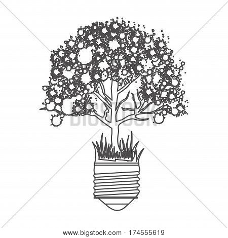 grayscale contour with light bulb base with leafy tree vector illustration