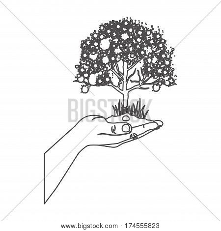 grayscale contour with leafy tree over hand vector illustration