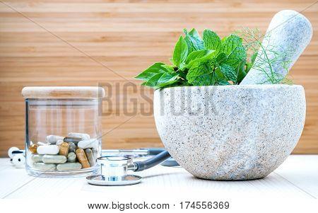 Fresh Herbal Leaves Basil ,sage , Mint ,holy Basil ,fennel And Capsule Of Herbal Medicine Alternativ