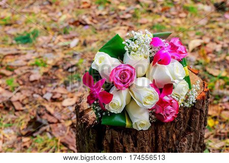 Bridal Bouquet on old and elegant Wedding bridal bouquet of roses