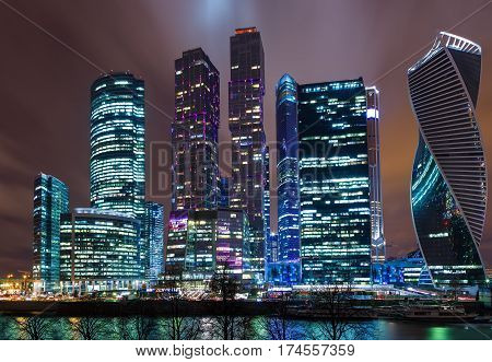Modern skyscrapers in Moscow-city downtown Federation tower, Mercury tower etc. , Moscow, Russia