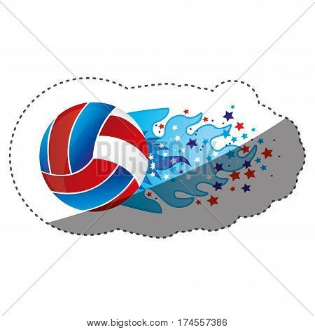 sticker colorful olympic flame with stars and volleyball ball vector illustration