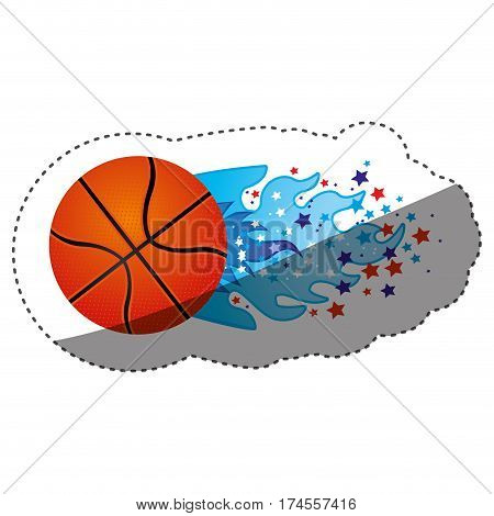 sticker colorful olympic flame with stars and basketball ball vector illustration