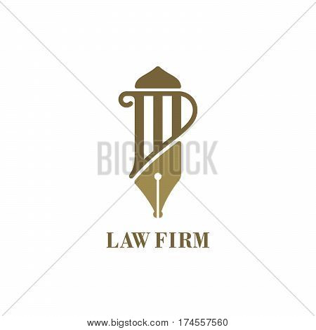 Pillar and fountain pen shaped logo for law firms. Vector illustration template.