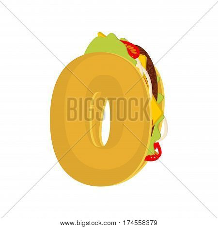 Number 0 Tacos. Mexican Fast Food Font Zero. Taco Alphabet Symbol. Mexico Meal Abc
