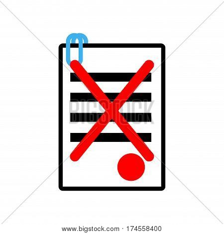 Documents Reject Icon Sign. Office Symbol. Contract Sheet With Red Seal Refuse