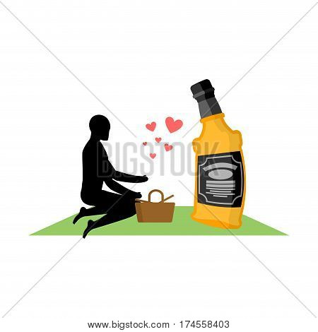 Lover Alcohol Drink. Man And Bottle Of Whiskey On Picnic. Blanket And Basket For Food On Lawn. Roman