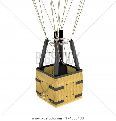 3d rendering of an air balloon basket with gas burners isolated on white background. Air travel. Hot air balloons. Sightseeing and travelling.
