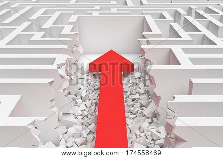 3d rendering of a square maze with a red arrow borrowing to the center in closeup view. Mazes and labyrinths. Problems and solutions. Unexpected approach and risk.