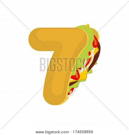 Number 7 Tacos. Mexican Fast Food Font Seven. Taco Alphabet Symbol. Mexico Meal Abc