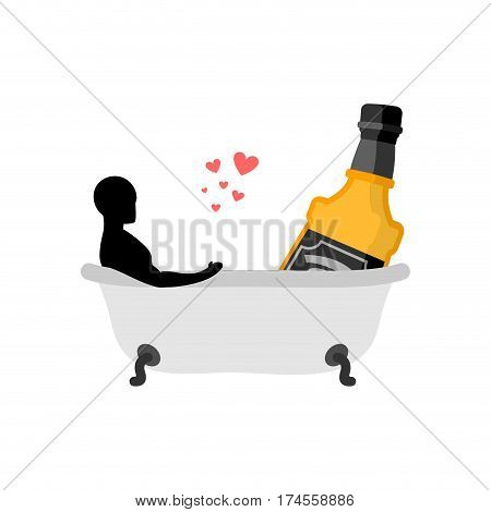 Lover Alcohol Drink. Man And Bottle Of Whiskey In Bath. Joint Bathing. Romantic Date. Alcoholic Life