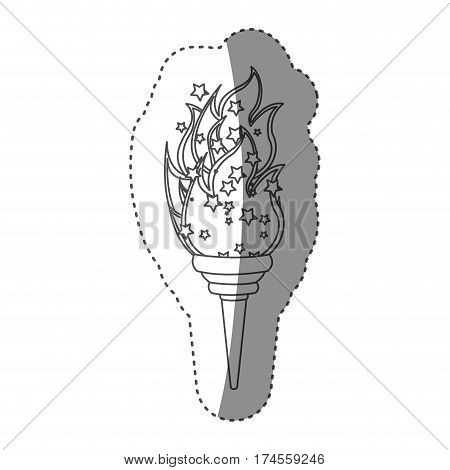 sticker grayscale contour with olympic torch flame vector illustration