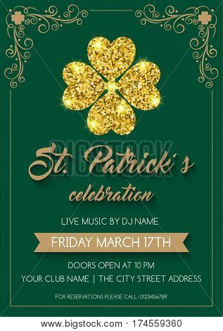 Saint Patrick's Day invitation or poster template with glittering four-leaf clover. Vector Illustration.