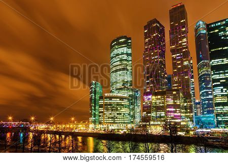 Cityscape of skyscrapers of Moscow City business complex . Moscow International Business Center Moscow-City