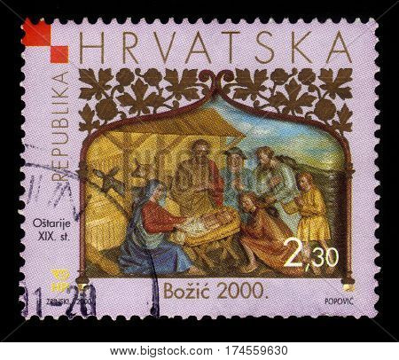 Croatia  - CIRCA 2000: A stamp printed in Croatia  shows relief Nativity, altar of the Church of the Blessed Virgin Mary, Ostarije, near Ogulin, series Christmas 2000, circa 2000