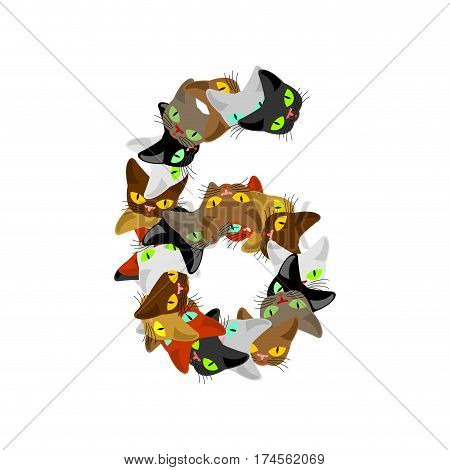 Number 6 Cat Font. Cats Number Six. Pet Alphabet Sign. Home Animal Abc