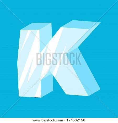 Letter K Ice Font. Icicles Alphabet. Freeze Lettering. Iceberg Abc Sign