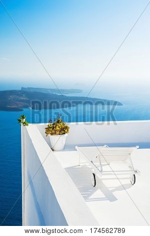 Chaise Lounge On The Terrace With Sea View.