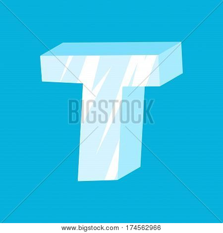 Letter T Ice Font. Icicles Alphabet. Freeze Lettering. Iceberg Abc Sign