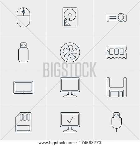Vector Illustration Of 12 Laptop Icons. Editable Pack Of Presentation, Flash Drive, Diskette And Other Elements.