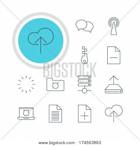 Vector Illustration Of 12 Internet Icons. Editable Pack Of Secure Laptop, Removing File, Note And Other Elements.