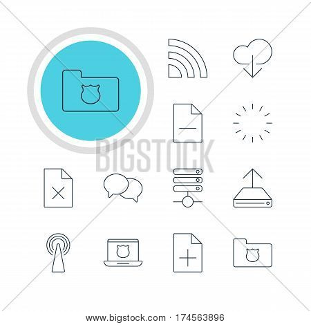 Vector Illustration Of 12 Network Icons. Editable Pack Of Privacy Doc, Waiting, Delete Data And Other Elements.