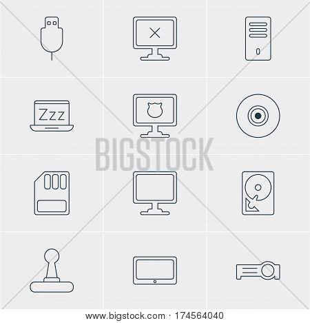 Vector Illustration Of 12 Laptop Icons. Editable Pack Of Access Denied, Antivirus, Screen And Other Elements.