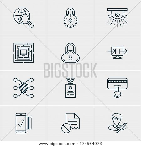 Vector Illustration Of 12 Data Protection Icons. Editable Pack Of Safety Key, Safeguard, Send Information And Other Elements.