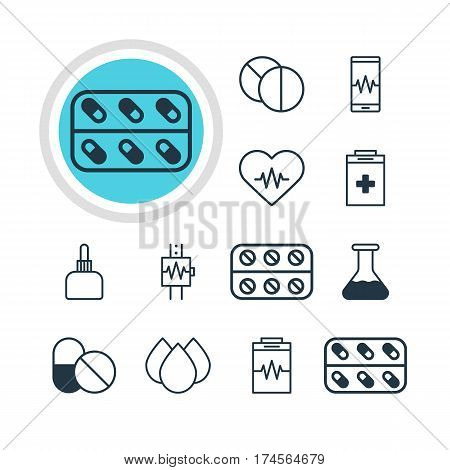 Vector Illustration Of 12 Medical Icons. Editable Pack Of Trickle, Medicament Pitcher, Pills And Other Elements.