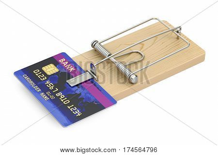 Credit trap concept mousetrap with credit card 3D rendering isolated on white background