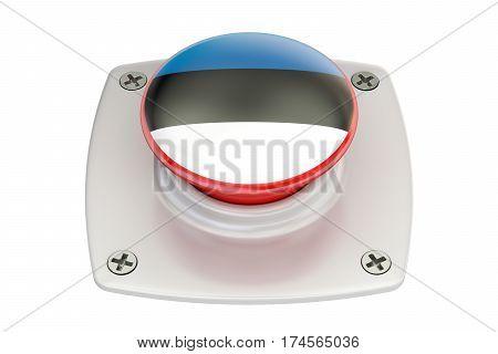 Estonia flag push button 3D rendering on white