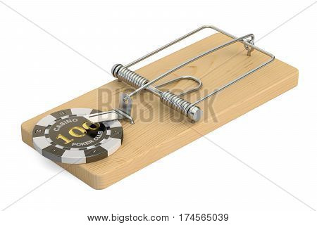 Gambling Addiction concept. Mousetrap with gaming casino chip 3D rendering