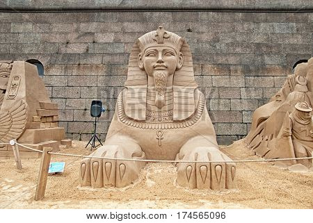 SAINT-PETERSBURG, RUSSIA - AUGUST 15, 2016: Ancient Egyptian Sphinx Sculpture on The Sand Sculpture Festival near The Peter and Paul Fortress Wall
