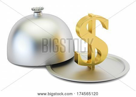 Restaurant cloche with gold dollar symbol 3D rendering