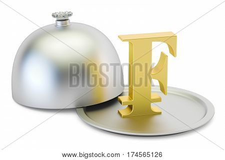 Restaurant cloche with gold franc symbol 3D rendering