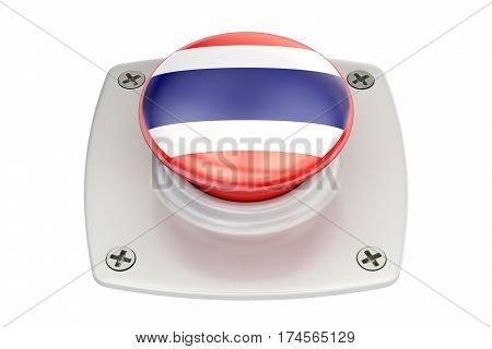 Thailand flag push button 3D rendering on white