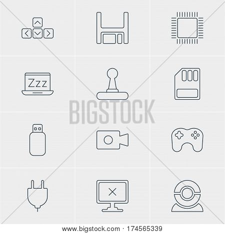 Vector Illustration Of 12 Notebook Icons. Editable Pack Of Movie Cam, Flash Drive, Web Camera And Other Elements.