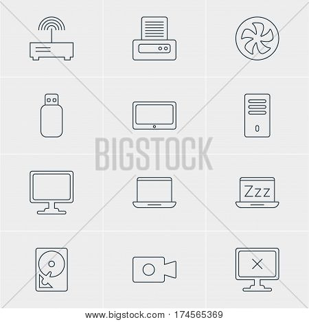 Vector Illustration Of 12 Notebook Icons. Editable Pack Of Router, Mainframe, Notebook And Other Elements.