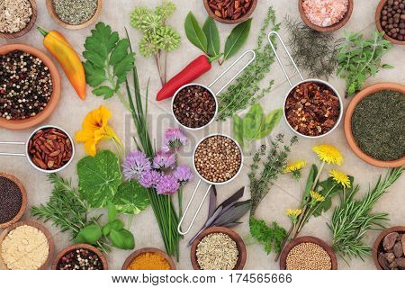 Dried and fresh spice and herb selection on hemp paper background.