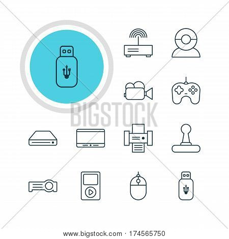 Vector Illustration Of 12 Device Icons. Editable Pack Of Joypad, Usb Card, Memory Storage And Other Elements.
