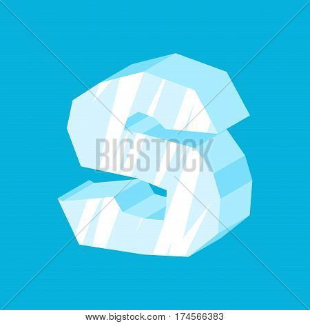 Letter S Ice Font. Icicles Alphabet. Freeze Lettering. Iceberg Abc Sign