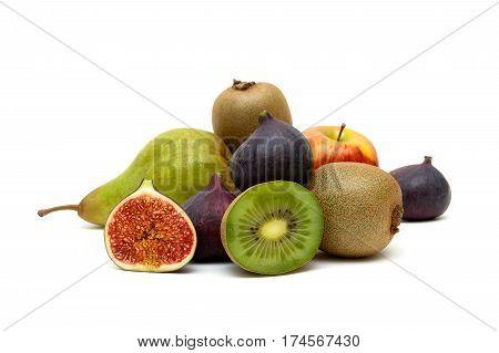 fresh ripe fruits isolated on white background. horizontal photo.